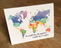 Multicolor Stationery Watercolor World Map Notecard Perfect for a Note to a Neighbor