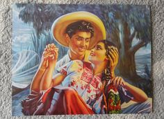 Vintage arte calendario mexicano por Antonio Gomez  por MexiClacla