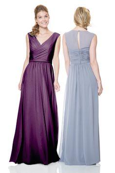 Bari Jay Bridesmaids   STYLE: 1514 V-neck dress with modest sheer back. #fallwedding #winterwedding #bridesmaidsdress #bridesmaid