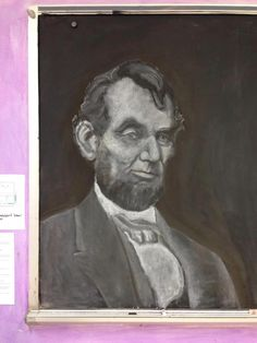 John Keeney- 8th grade teacher- chalkboard drawing of Lincoln.