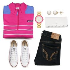 """""""Untitled #82"""" by valerienwashington ❤ liked on Polyvore featuring Vineyard Vines, Hollister Co., Converse, Kate Spade and Honora"""