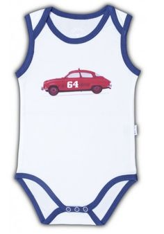 We love this graphic car singlet for hot summer days!  He'll be mucho macho in this cotton number from Dutch brand Claesen's.  #Designer #baby #boy #singlet #gifts $20