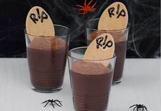 RIP tomb stone MILO custard choc pots, Source here, from healthy bones for halloween