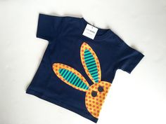 Bunny Rabbit T Shirt for Boy or Girl Unisex Easter Shirt, Navy Blue, orange, green