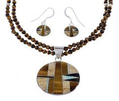 Sterling Silver Multicolor Southwest Pendant Necklace And Earrings Set FX26382 http://www.silvertribe.com