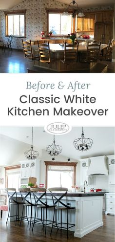 A sweet client of ours just sent photos of her amazing kitchen renovation and we couldn't wait to share them! What was once a dark space was transformed into a bright, timeless kitchen with fun pops of color! Check out the full gallery, along with all of the sources! Hopefully this inspires you as you plan for your kitchen renovation! Classic White Kitchen, Timeless Kitchen, All White Kitchen, White Kitchens, Modern Farmhouse Kitchens, Cool Kitchens, Kitchen Inspiration, Kitchen Ideas, Kitchen Decor