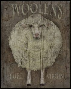 Woolens Extra Grungy Primitive FolkArt 8x10 by MarysMontage, $4.00