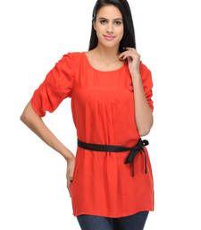 Buy Red plain tops top online