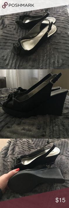 Black peep toe, 3 inch wedges!!  Worn once!! Cute, perfect for the summer.  Three inch wedges. Peep toe with a little knotted detail!  Great condition!!! Apt. 9 Shoes Wedges