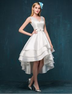 Satin V Neck Bow A-line Hi-Lo Prom Dress Asymmetrical Cocktail Dress Design Special Occasion Dress on Luulla