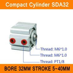 SDA32 Cylinder SDA Series Bore 32mm Stroke 5-40mm Compact Air Cylinders Dual Action Air Pneumatic Cylinder ISO Certificate #Affiliate