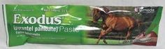 Exodus Paste - Apple Flavor 23.6 gm Syringe by Exodus. $5.20. UNITED STATES. Each syringe contains 3.6 grams pyrantel base in 23.6 grams of paste. For the removal and control of mature infections of large strongyles, small strongyles, pin worms and large round worms in horses and ponies. Dosage: Administer as a single oral dose of milligrams per pound of body weight. The syringes are marked with weight increments each indicating the recommended dose per 300 po...