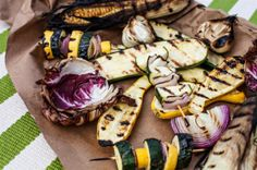 Grilled Red Onion, Squash, and Zucchini recipe by Matt Moore. Photo by Andrew Cebulka.