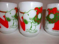 Fire King Snoopy Mug NOEL-Lot of 4