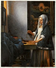 Johannes Vermeer - woman holding a balance Delft, Johannes Vermeer, Vermeer Paintings, Dutch Republic, National Gallery, Dutch Golden Age, Classic Paintings, Dutch Painters, Historical Art