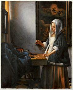 Vermeer, Dame met een weegschaal. 1664, 42*38 cm.