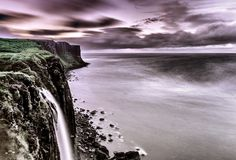 Mealt Falls and Kilt Rock during a storm, Staffin, Isle of Skye, Scotland