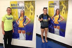 We were happy to get a photos of each Bailey and Johnnye beside their custom sports banner that is on display for all the student body to see. The banner design captures their athletic ability in volleyball, basketball, and track & field. Kudos to Diana for getting those pics sent in to us! We wish both young ladies the best of luck this volleyball, basketball, and track season!