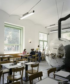 Disco Volante in Vienna was designed by Lukas Galehr, who turned the heart of this pizzeria into a giant Disco Ball Pizza Oven. Interior Architecture, Interior And Exterior, Interior Design, Pizza Box Oven, Pizza Ovens, Cosy Cafe, Pizza Art, Four A Pizza, Wood Fired Oven