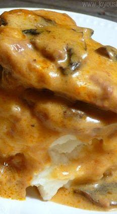 Slow Cooker Steak in Golden Mushroom Cream Sauce: Served over Mashed Potatoes