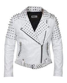 Customized Women's White Brando Style Belted Leather Silver Spike White Studded Slim Fit Brando Jack - Modern Spiked Leather Jacket, Studded Jacket, Biker Leather, Leather Skin, White Leather, Lambskin Leather, Sheep Leather, Punk Fashion, White Fashion
