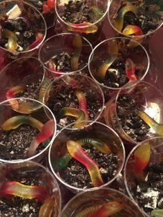 Tractatie! Modder wormen met #oreo koekjes, chocolademousse en snoep wormen! Turbo succes bij de jarige job en zijn klas!