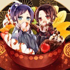 Touken ranbu (Yamatonokami and Kashuu) Kawaii Chibi, Cute Chibi, Anime Chibi, Kawaii Anime, Anime Art, Cute Food Art, Cute Art, Touken Ranbu, Carla Tsukinami