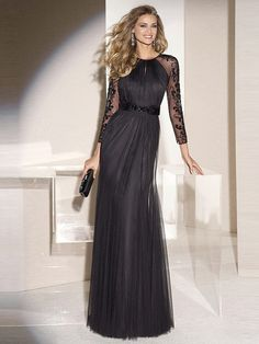 newbridalup.com SUPPLIES Fashion A-Line/Princess Scoop Long Sleeves Tulle Sweep/Brush Train Applique Black Evening Dress Black Evening Dresses