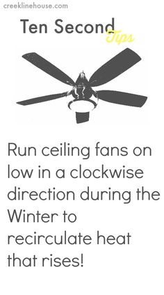 Saving on Winter energy costs with ceiling fans! (Ten Second Tips)