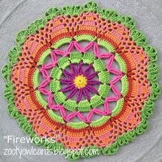 Zooty Owl: Fireworks Doily / Mandala - free crochet pattern by Zelna Olivier. with dk cotton and hook. Crochet Mandala Pattern, Doily Patterns, Crochet Doilies, Crochet Flowers, Crochet Round, Crochet Squares, Crochet Home, Crochet Crafts, Granny Squares