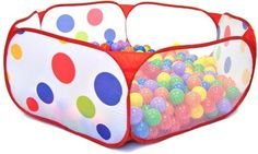 200 Phthalates Free Non-Toxic Crush Proof Non-Recycled 6.5Cm Play Ball & Polka Dot Hexagon Pen - Free Mystery Gift, 2015 Amazon Top Rated Play Tents & Tunnels #Toy