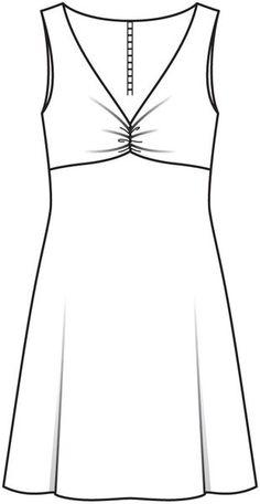 Burda 2012/12 [110] - Robe sans manches, à buste Empire drapé et décolleté en V, et jupe joliment évasée. T36-44. Aussi en version longue à manches longues (111).