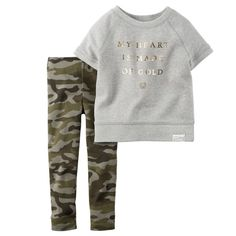 With patterned leggings and a sparkle slogan, she'll be happy and comfy in this easy set. Camo Leggings, Camo Pants, Tops For Leggings, Toddler Outfits, Kids Outfits, Baby Girl Fall, Baby Girls, Toddler Girl, Patterned Leggings