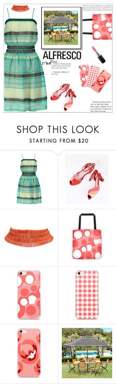 """Easy Breezy: Alfresco Dining"" by atelier-briella ❤ liked on Polyvore featuring M Missoni, Bettie Page, Ballard Designs, MAC Cosmetics, coral, iPhonecases, alfrescodining and canvastotebag"