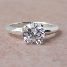 7mm Lab White Sapphire Argentium Sterling by cavaliercreations, $64.00