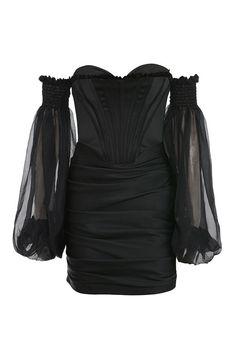 Clothing : Structured Dresses : 'Beau' Black Satin and Chiffon Corset Dress Kpop Fashion Outfits, Stage Outfits, Mode Outfits, Stylish Outfits, Fashion Dresses, Look Fashion, Womens Fashion, Fashion Design, Gothic Fashion