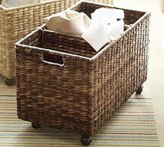 The prettiest way to corral all sorts of things (including recycling) | Pottery Barn Havana Recycling Bin ($99)