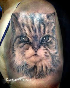 Realistic Cat Tattoo by Rafael Fabozzo Eagle Tattoos, Cat Tattoo, Color Tattoo, Cats, Animals, Colors, Gatos, Animales, Animaux