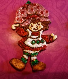 Strawberry Shortcake Boutique Bow Center Polymer Clay by moquerie, $7.00