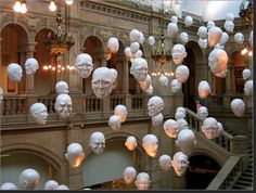 """Heads"" by Sophie Cave in the Kelvingrove Art Gallery and Museum, Glasgow (Scotland), June 2008. 95 heads with four different expressions that reflect the ups and downs of emotion in life."