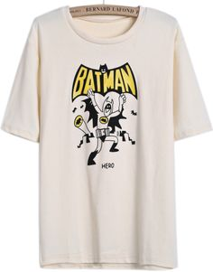 Apricot Short Sleeve BATMAN Print T-Shirt US$17.40