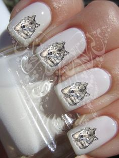 Wolf  Nail Art Nail Water Decals Transfers Wraps by SWNails