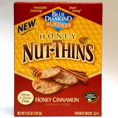 Blue Diamond NUT-THINS almond crackers Honey Cinnamon sweet snack chips rice/nut