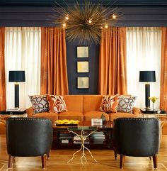 Interior Design with Paisley Pattern! Geoffrey De Sousa Interior Design Atlanta Georgia's Premier Architectural and Interior Design and Deco. Living Room Inspiration, Curtains Living Room, Living Room Decor Orange, Living Room Orange, Living Room Designs, Interior, Orange Rooms, House Interior, Orange Curtains