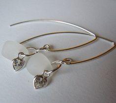 Heart Beach Glass Earrings White Sea Glass by BeachGlassMemories, $24.00