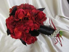 Real Touch Bridal Bouquet - Red and Black with Feather Accents - $145.00