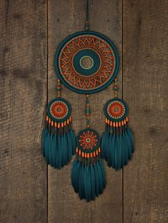 Your place to buy and sell all things handmade - Dream catcher / Turquoise and orange dream от MyHappyDreams - Dream Catcher Decor, Dream Catcher Boho, Diy Tumblr, Dreamcatchers, Feather Wall Decor, Beautiful Dream Catchers, Diy Holz, String Art, Wooden Beads