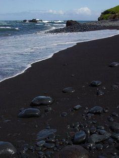 Black Sand Beach, Maui..loved it!  It feels like warm baby powder on your feet!!  The water is the bluest of blues!