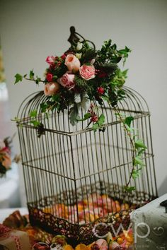 table setting cage candles / wedding decor bird cages by Mariquita maki