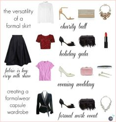 Wardrobe Oxygen: How to Create a Formalwear Capsule Wardrobe showing the versatility of a formal skirt in your wardrobe.